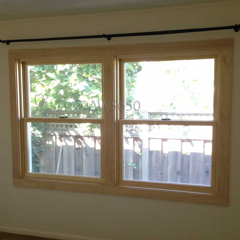 Andersen Woodwright double hung windows with stain grade interior trim installed in San Mateo,Ca